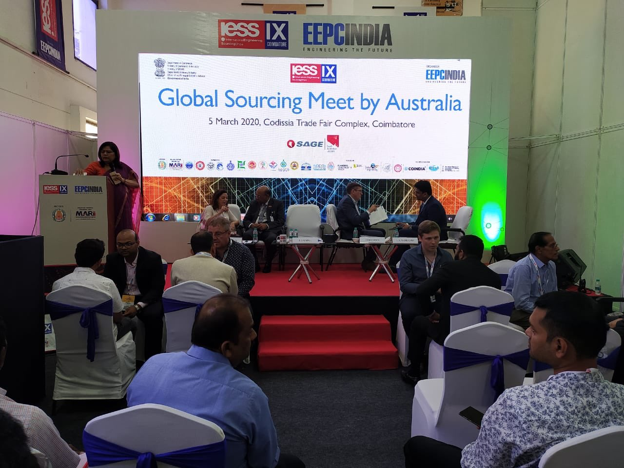 Ms. Anima Pandey, Regional Director (ER)& Director (Membership), EEPC India addressing the gathering at Global Sourcing Meet by Australian firm SAGE group