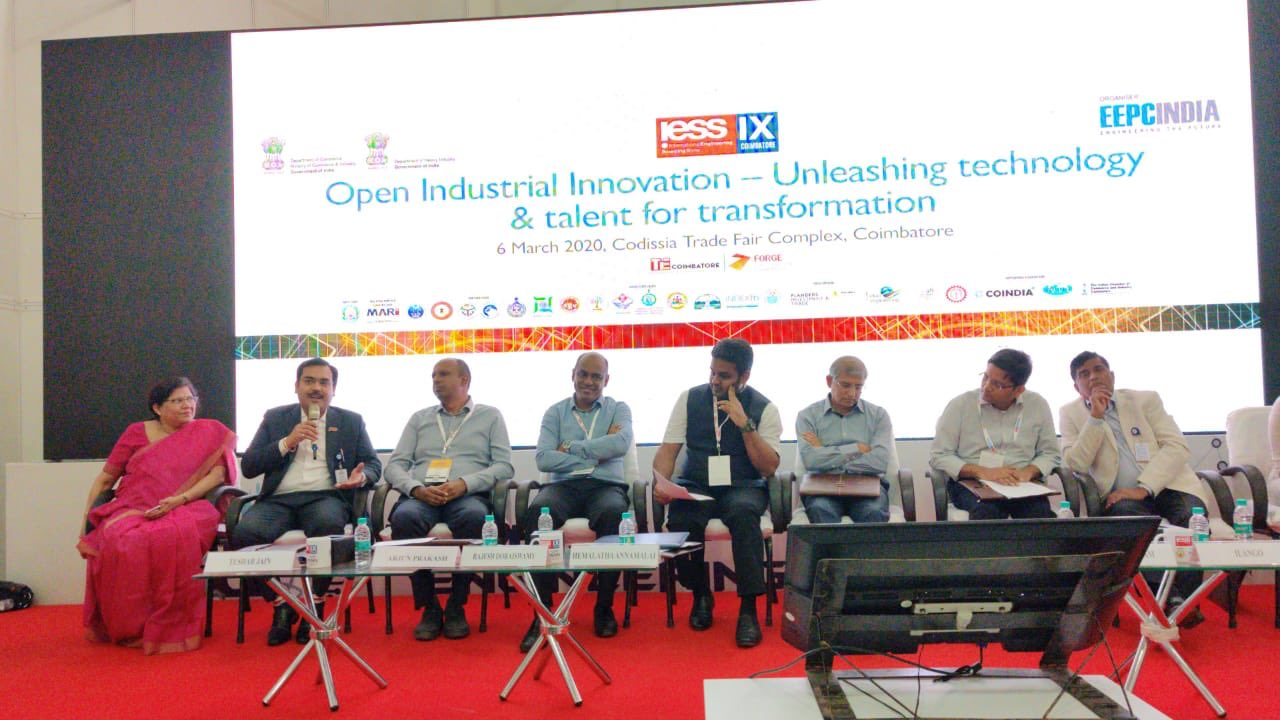 A joint session held by EEPC India, TiE Coimbatore and FORGE Accelerator on Unleashing Technology and Talent for Transformation. Ms. Anima Pandey, Regional Director (ER) & Director (Membership) is also seen on the dais (extreme left)
