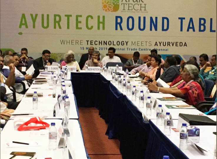 Secretary, Ministry of Ayush, Vaidya Shri Rajesh Kotecha, Adviser, Ministry of Ayush, Dr Manoj Nesari, Ms Sangeeta Godbole, DG, SEPC addressed the Ayurtech Round table where TECHNOLOGY meets AYURVEDA at IESS VIII  (an EEPC India event) held over 15th March, 2019 in Chennai Trade Centre, Chennai.