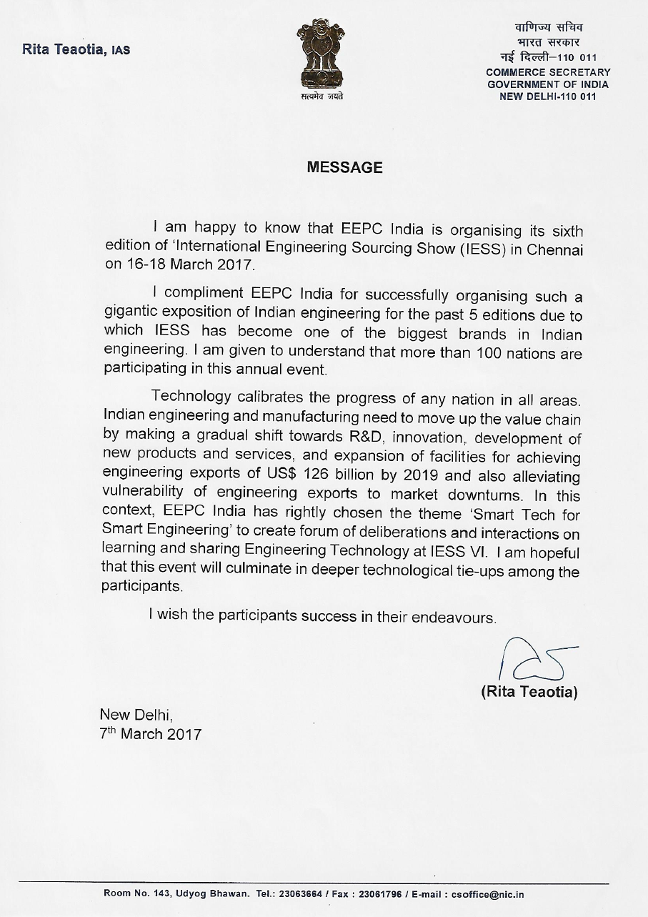 Message from Commerce Secretary, Govt. of India
