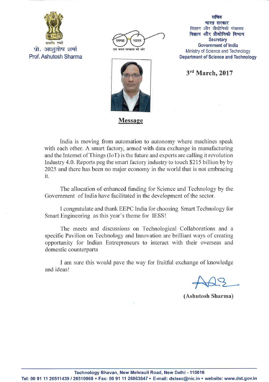 Message from Secretary, Dept. of Science & Technology, Ministry of Science & Technology, Govt. of India